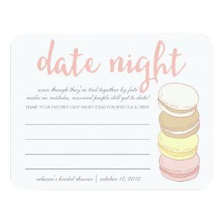 "Bridal Shower Date Night Cards | French Macarons 4.25"" X 5.5"" Invitation Card"