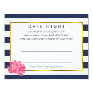 "Bridal Shower Date Night Cards | Navy Stripe Peony 4.25"" X 5.5"" Invitation Card"