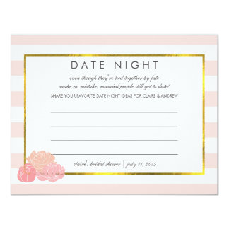 "Bridal Shower Date Night Cards | Pink Stripe Peony 4.25"" X 5.5"" Invitation Card"