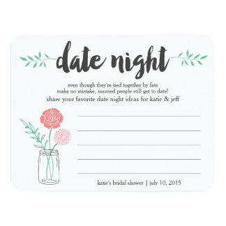 "Bridal Shower Date Night Idea Card | Mason Jar 4.25"" X 5.5"" Invitation Card"