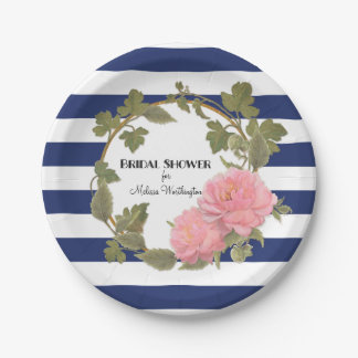 Bridal Shower Decor Gold Wide Striped Peony Wreath 7 Inch Paper Plate