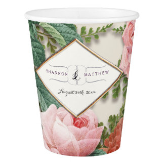 Bridal Shower Decor Vintage Floral Pink Rose Gold Paper Cup