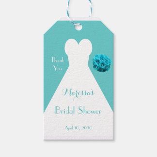 Bridal Shower Dress on Aqua Thank You Favor Pack Of Gift Tags