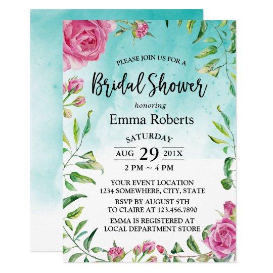 Bridal Shower Elegant Floral Turquoise Watercolor Card