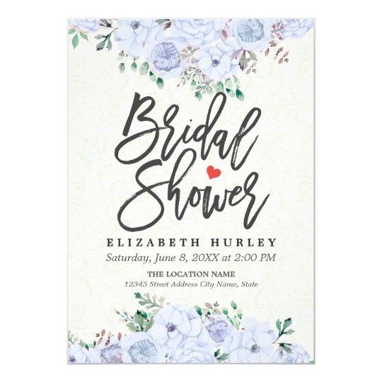 Bridal Shower Elegant Light Blue Watercolor Floral Card