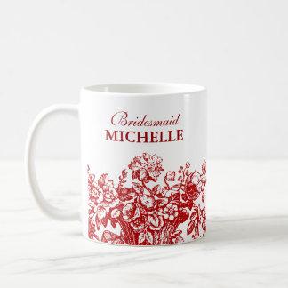 Bridal Shower Favor Floral Basket Red Coffee Mug