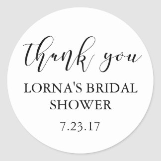 Bridal Shower Favor Sticker Elegant Thank You