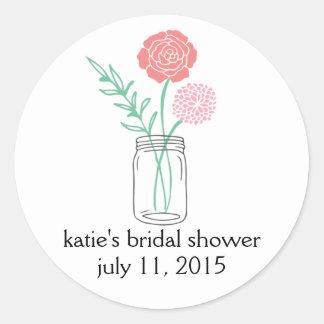 Bridal Shower Favor Stickers | Botanical Mason Jar