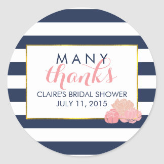 Bridal Shower Favor Stickers Midnight Blush Peony