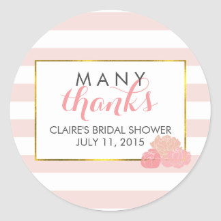 Bridal Shower Favor Stickers | Pink Stripe & Peony