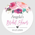 Bridal Shower Favour Modern Watercolor Floral Classic Round Sticker