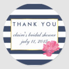 Bridal Shower Favour Stickers | Navy Stripe &