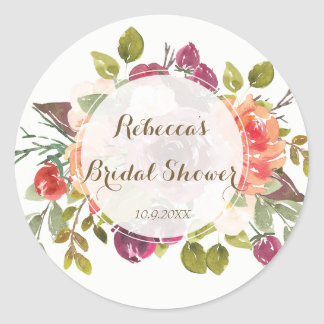 bridal shower favours stickers marsala floral
