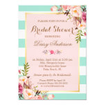 "Bridal Shower Floral Baby Pink Mint Green Stripes 5"" X 7"" Invitation Card"