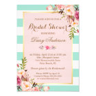 Bridal Shower Floral Baby Pink Mint Green Stripes Card