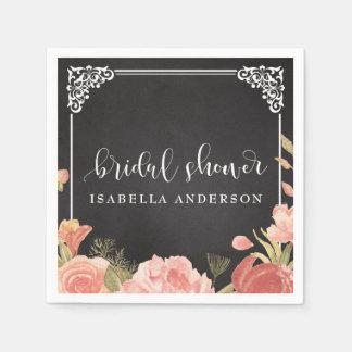 Bridal Shower | Floral Bouquet on Chalkboard Paper Napkins