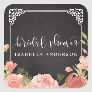 Bridal Shower | Floral Bouquet on Chalkboard Square Sticker