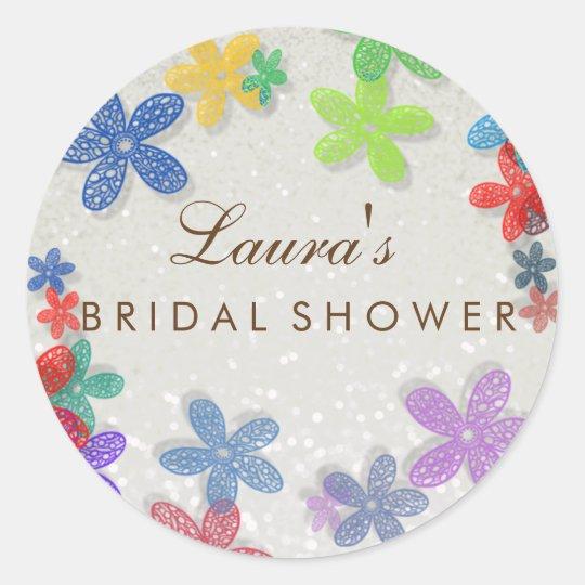 Bridal Shower Floral Confetti Pearl Classic Round Sticker