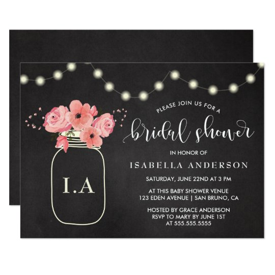 Bridal Shower | Floral Jar & Lights on Chalkboard Card