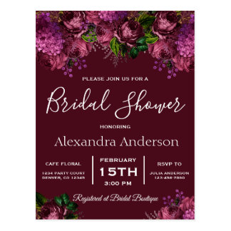 Bridal Shower Floral Marsala Burgundy Invitation Postcard