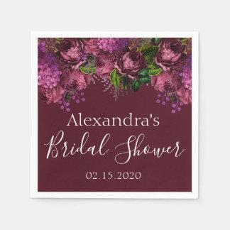 Bridal Shower Floral Marsala Burgundy Napkins Disposable Napkin