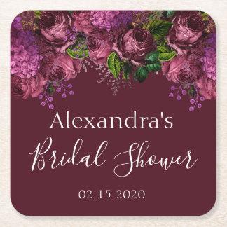 Bridal Shower Floral Marsala Burgundy Square Paper Coaster