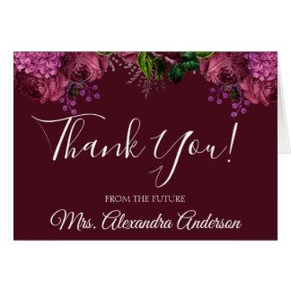 Bridal Shower Floral Marsala Burgundy Thank You Card
