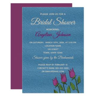 Bridal Shower Floral Rustic Blue Elegant Artistic Card