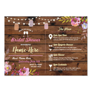 Bridal Shower Floral Wood Jars Pink Itinerary Card