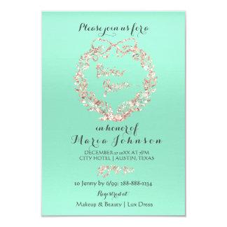 Bridal Shower Floral Wreath Mint Pink Rose Gold Card