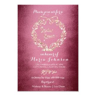Bridal Shower Floral Wreath Rose Gold Burgundy Card