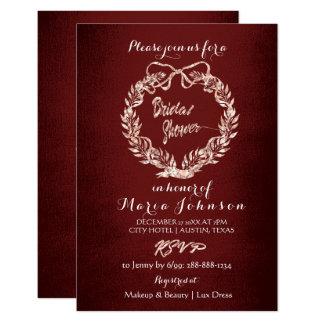 Bridal Shower Floral Wreath Rose Gold Marron Burgu Card