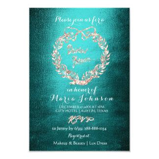 Bridal Shower Floral Wreath Rose Gold Teal Card