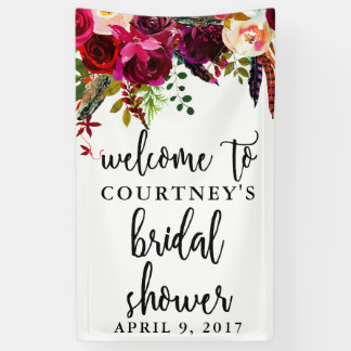 Bridal Shower Floral Wreath Welcome Banner