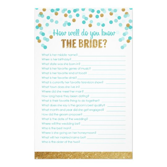 Bridal Shower Game How Well Do You Know The Bride