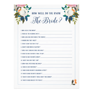 Bridal Shower Games How Well Do You Know The Bride Full Colour Flyer