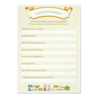 """Bridal Shower Games: What Did the Groom Say? 5"""" X 7"""" Invitation Card"""