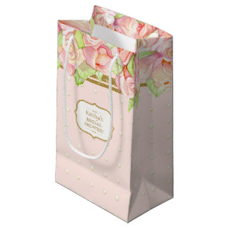 Bridal Shower Gift Bag Watercolor Rose Bouquet