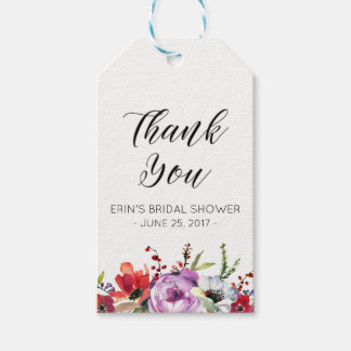 Bridal Shower Gift Tags Favors Floral Watercolor