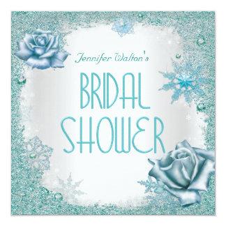 Bridal Shower Glitter Teal Blue White Roses Card