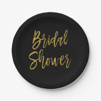 Bridal Shower Gold Foil Paper Plates
