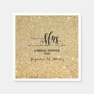 Bridal Shower Gold Glitter Future Mrs. Modern Fab Paper Napkins