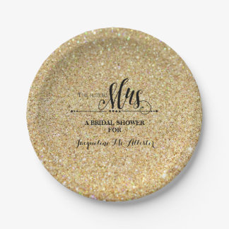 Bridal Shower Gold Glitter Future Mrs. Party Decor Paper Plate