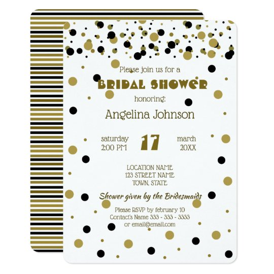 Bridal Shower Golden Black Dots Stripes Modern Card