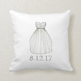 Bridal Shower Gown Bride Wedding Date Dress Pillow