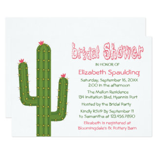 Bridal Shower Green & Pink Cactus / Cacti Wedding Card