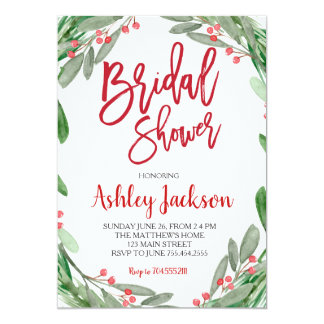 Bridal Shower Greenery Wreath Invitation