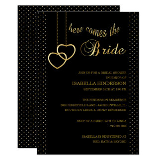 Bridal Shower -Here Comes the Bride - Black & Gold Card