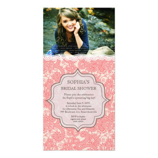 Bridal Shower HoneySuckle Pink Lace Paisley Invite Photo Greeting Card