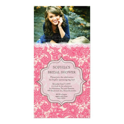 Bridal Shower Hot Pink Lace Paisley Photo Invite Customized Photo Card